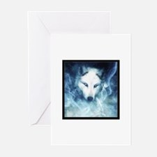 Cute Black wolf snow wolf white wolf wolf wildlife dog Greeting Cards (Pk of 10)