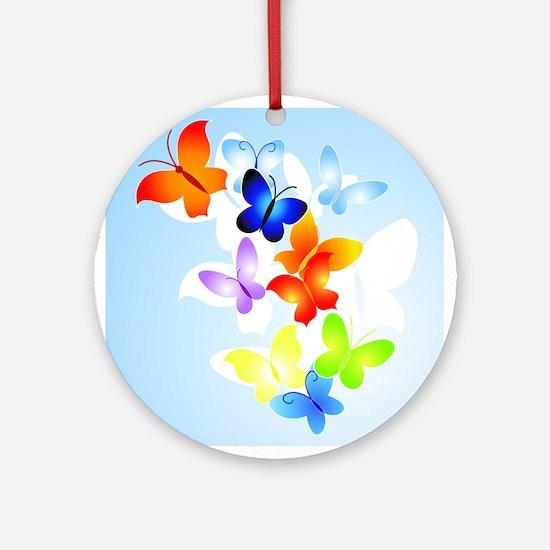 RAINBOW of BUTTERFLIES Ornament (Round)