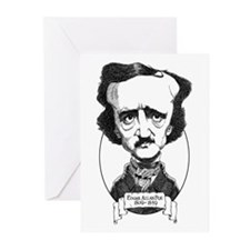 Edgar Allan Poe Caricature Greeting Cards (Pk of 2