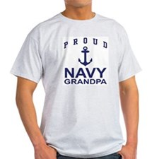 Proud Navy Grandpa Ash Grey T-Shirt