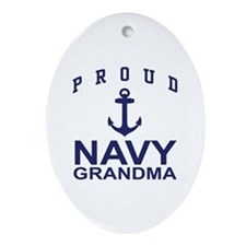 Proud Navy Grandma Oval Ornament