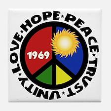 Hope Peace Love Trust Unity Tile Coaster