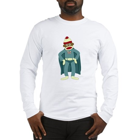 Sock Monkey Superhero Long Sleeve T-Shirt