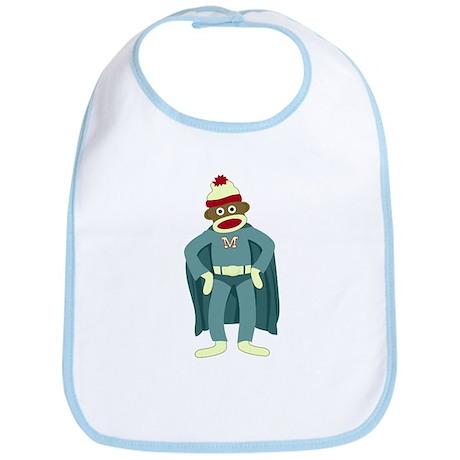 Sock Monkey Superhero Baby Bib