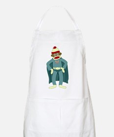 Sock Monkey Superhero BBQ Apron