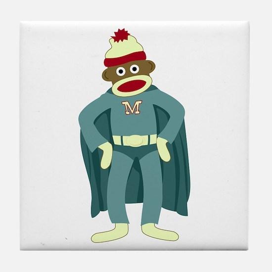 Sock Monkey Superhero Tile Coaster