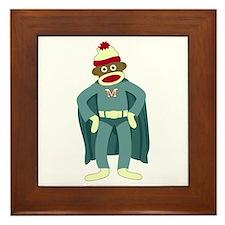 Sock Monkey Superhero Framed Tile