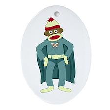 Sock Monkey Superhero Oval Ornament