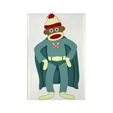 Sock Monkey Superhero Rectangle Magnet