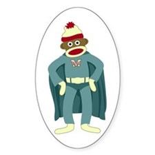 Sock Monkey Superhero Oval Decal