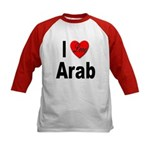 I Love Arab (Front) Kids Baseball Jersey