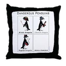 Dangerous Penguins Throw Pillow