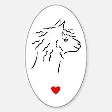 Alpaca Heart Oval Decal
