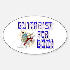 Christian Guitar For God Oval Decal