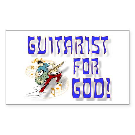 Christian Guitar For God Rectangle Sticker