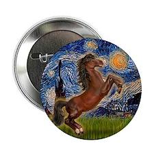"Starry/Arabian horse (brn) 2.25"" Button (10 pack)"