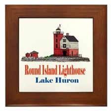 Cute Lighthouse%2c lake huron Framed Tile