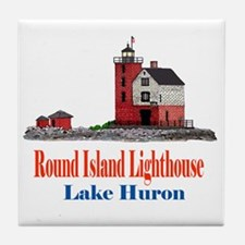 Unique Lighthouse%2c lake huron Tile Coaster