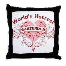 World's Hottest Bartender Throw Pillow