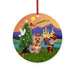 Yorkie Fantasy Christmas Ornament (Round)