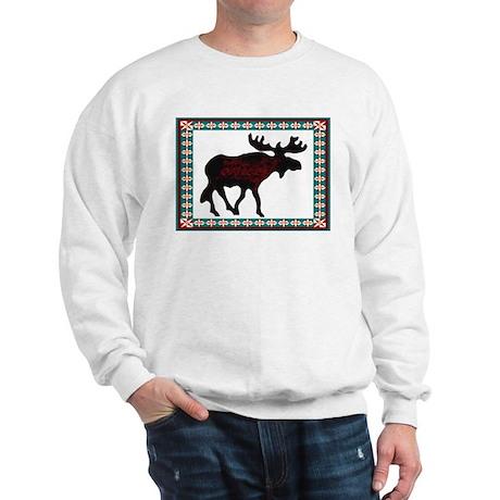 Teal Moose Quilt Sweatshirt