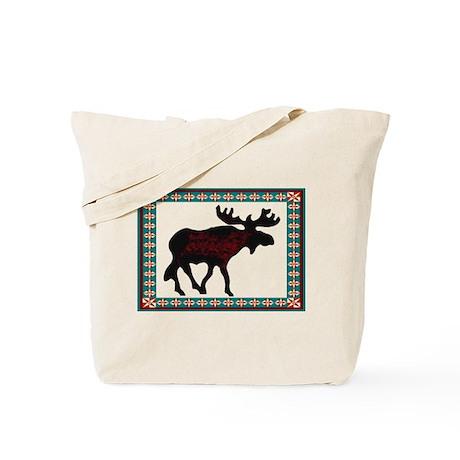 Teal Moose Quilt Tote Bag