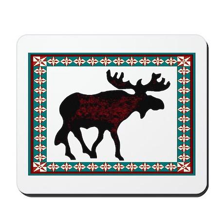 Teal Moose Quilt Mousepad