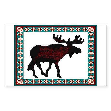 Teal Moose Quilt Rectangle Sticker