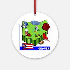 Ohio Map Ornament (Round)