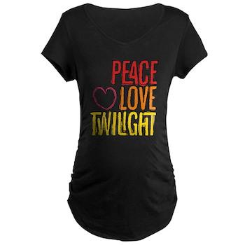 Peace Love Twilight Maternity Dark T-Shirt