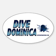Dive Dominica (blue) Oval Decal