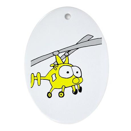 Yellow Huskie Oval Ornament