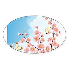 Cherry Blossom Sakura Oval Sticker (50 pk)