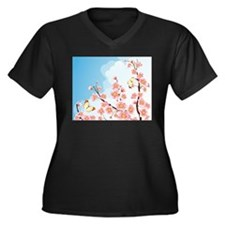 Cherry Blossom Sakura Women's Plus Size V-Neck Dar