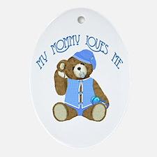 Baby Boy TeddyBear Oval Ornament