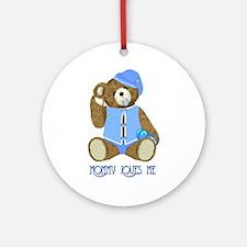 Baby Boy TeddyBear Ornament (Round)