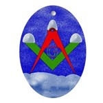 Masonic Snowy S&C Oval Ornament
