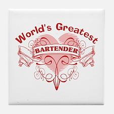 World's Greatest Bartender Tile Coaster