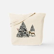 DEER AND CHRISTMAS TREES Tote Bag