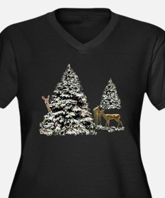 DEER AND CHRISTMAS TREES Women's Plus Size V-Neck
