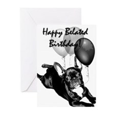 Belated Birthday Frenchie Greeting Cards(Pk o