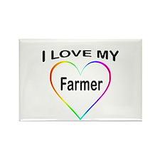 I Heart My Farmer Rectangle Magnet