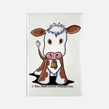 Brown and White COW Rectangle Magnet
