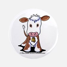 """Brown and White COW 3.5"""" Button"""