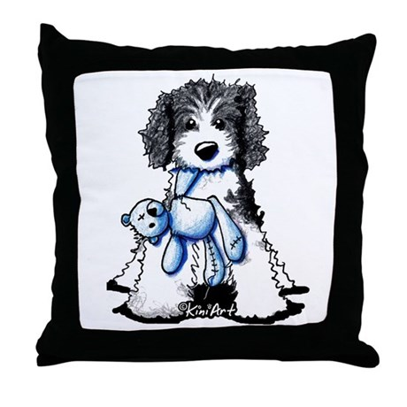 Throw Pillow Doodle : B/W Parti Doodle Throw Pillow by kiniart