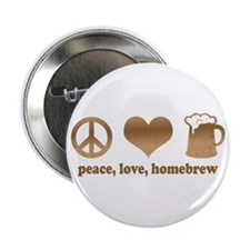 """Peace, Love, Homebrew 2.25"""" Button"""
