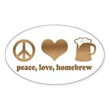 Peace, Love, Homebrew Oval Decal