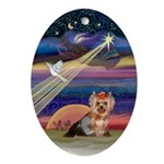 Christmas Star and Yorkie Oval Ornament