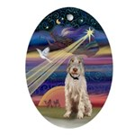 Christmas Star and Spinone Oval Ornament