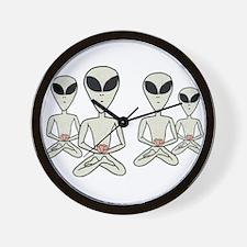 Meditating Aliens Wall Clock